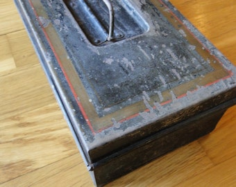 Vintage metal rustic black painted lidded box handmade with lid tackle box shabby chic