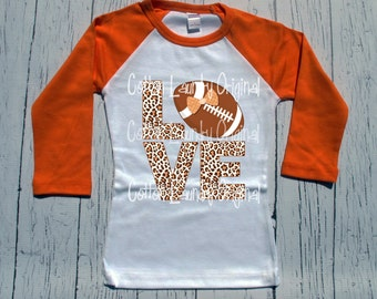 Football shirt Girl LOVE shirt Raglan baseball style tee shirt LOVE