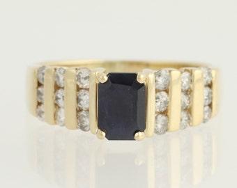 Sapphire & Diamond Ring - 14k Yellow Gold September Birthstone 1.87ctw N449