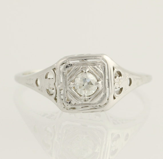 Art Deco Engagement Ring Diamond Solitaire 20k White Gold