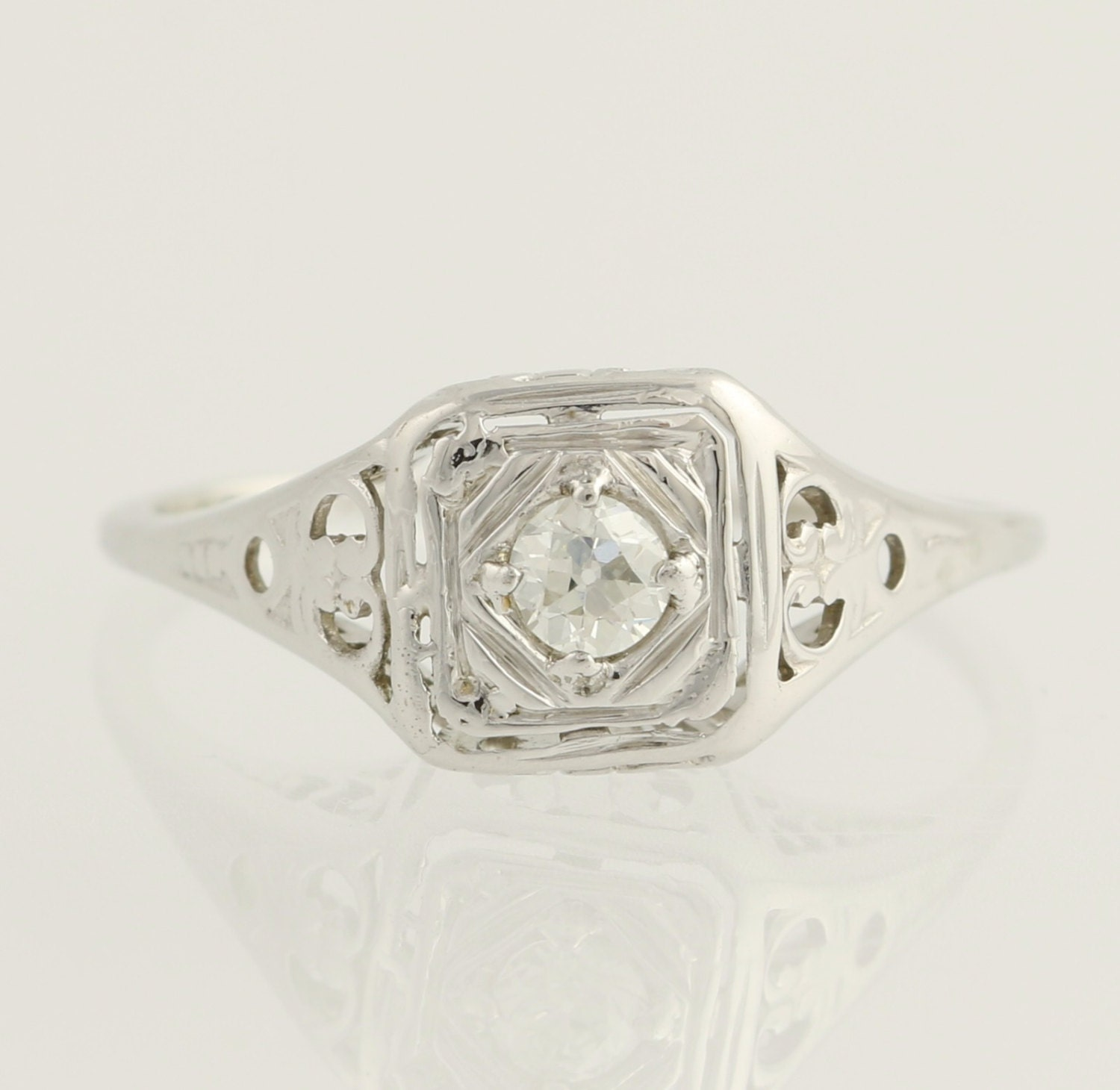 deco engagement ring solitaire 20k white gold