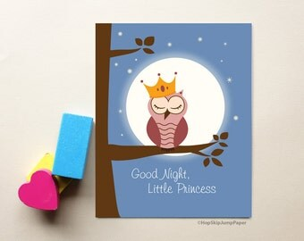 Baby Girl Nursery Decor Wall Art Print, Princess Decor, Good Night Little Princess - with Owl