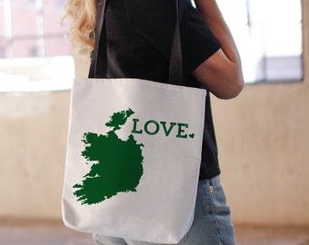 Ireland Tote Bag // St Patricks Day // Irish United Kingdom Travel // Grass Green