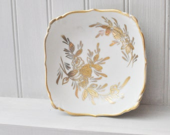 Square Candy Dish - Gold Trim - Floral - Creamy White Porcelain -