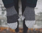 Mismatch Mittens in Grey - Grey Stripe Mittens - 100% Recycled Wool from Reclaimed Sweaters - one of a kind - Made to Order