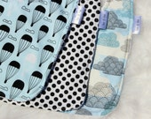 set of three baby Boys bibs. Terry toweling. Blue and black bibs.Baby boy clouds. Hot air balloons. baby boy nursery. clouds.Black and blue