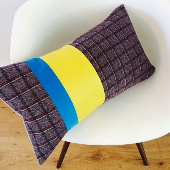 "Mid Century Pillow Cover 14""x24"" Lumbar Cushion Flannel Plaid Heather Brown Red Blue White Stripes Color-Block Bright Yellow Faux Leather"