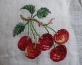 Lovely  embroidery hankie hanky vintage cherries cherry