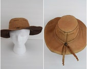 Vintage southwestern light brown leather panama hat / felt lined braided detail Mexican leather fedora