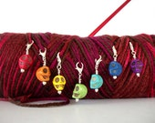 Goth Skulls Crochet Stitch Markers Set of 7 Colorful Skulls Dia de los Muertos Dyed Howlite For Crochet or Knit