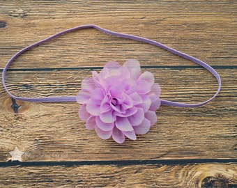 Light purple headband, baby elastic headband, baby headband, infant headband, newborn headband, elastic headband, baby girl, hair clip