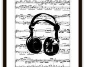 Headphones Music Wall Art Print,  Gift Ideas, DJ, Disc Jockey, Pop Rock Art, Audio Sound Engineer, Dorm Room, Home & Living