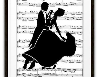 Fox Trot Ballroom Dancers Silhouette Music Book Page Wall Art Print, Home & Living, Home Decor, Gift Ideas, Ballroom Dancers, Dancer Gift