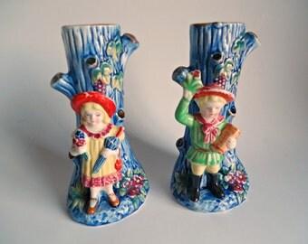 2 Vintage Bud Vases Figural Couple Vase