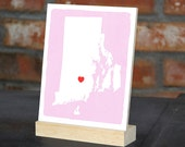 """RHODE ISLAND Hand Painted Desk display - Office decor - 5""""x 7"""", Bookshelf display, Going Away gift for Family and Best friends BFF gift"""