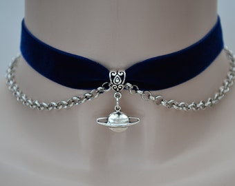 SATURN Planet Charm With Chain Navy BLUE Velvet Ribbon Choker Necklace -ig... or choose another colour velvet, handmade to size :)