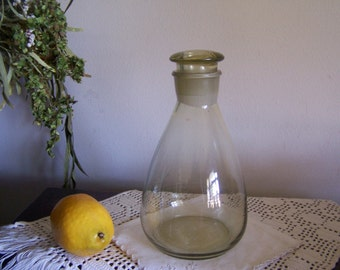 Vintage Pharmacy Lab Testing Bottle With Ground Stopper = Green Glass