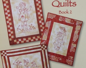 SALE REDWORK QUILTS Book 2 By Tricia Cribbs - Redwork Stitchery Embroidery Quilting Pattern Booklet
