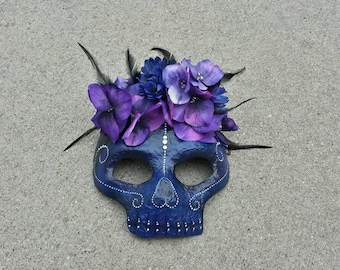 Midnight Flower Day of the Dead Skull Paper Mache Mask