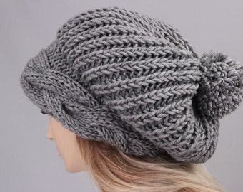 Big Sale -Slouchy beanie with pom pom   oversized beanie hat winter knit hat for woman in grey  -COLOR OPTION  AVAILABLE