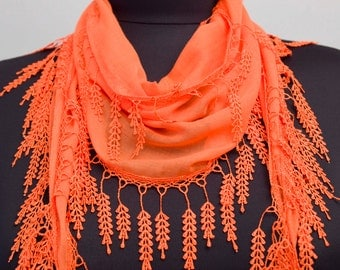 Fringed lace scarf ,triangle lace scarf , guipure scarf, flowered ,woman scarf, plain ,deep orange