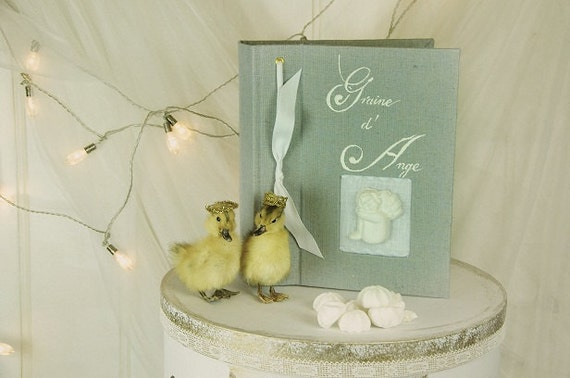 Guest book angel Baptism Note book secret book or guest book toile de Jouy