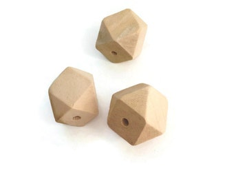 10 Natural Faceted Wood Beads, Oak Wood Beads, Faceted Cube Wooden Beads, Geometric Wooden Beads, Geometric Beads Wood beads 20mm W 70 043