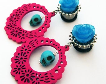"9/16"" 14mm Devilish Dolly Turquoise Magenta Steel Dangle Plugs Gauges Stretched Ears"