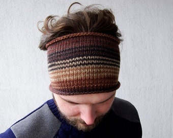 Mens Headband Knitted, Headband, Guys knit hair wrap - striped brown Adults Dread band, Gift for men, Tube Hat Dreadlock