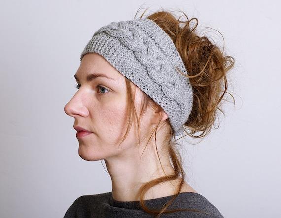 Knit Headband Pattern Button Closure : Headband Knitted Ear Warmer Cable knit Button Closure Hair