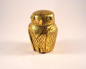 Gold Owl Trinket pot Paper Mache Wooden bird Art Deco Ornament Lid Jar Old Jewelry Box Gold Bronze