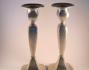 Silver Lacquered Candle Holders Tall Tapered