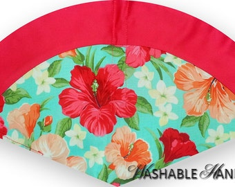 Washable Hand Fan High Inset Plumeria & Hibiscus Flowers