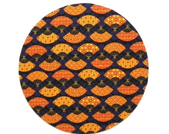 Mouse Pad - Round Fabric mousepad - Japanese fans in blue, gold and orange - Home office / computer / Electronic