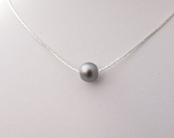 Dark Grey Pearl Necklace, Pearl Necklace, Bridesmaid Necklace, UK Seller, Single Pearl Necklace, Dainty Necklace, Bridesmaid Gifts, For Her