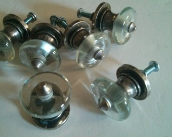 Sm Clear Glass Knob on Oxidized Nickel Hardware