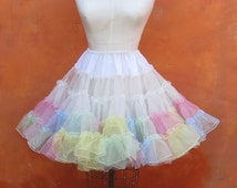 Vintage Pastel Rainbow Layered Crinoline Skirt. Ruffled Petticoat. Tutu Burlesque Pinup Circus Small Medium Large XL. Pink Blue Yellow White
