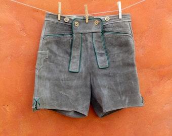 "Vintage Grey Green Suede Leather Lederhosen Shorts. German. Oktoberfest. 30"" waist"