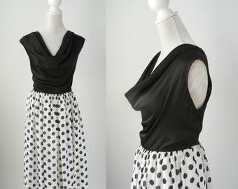 1950 Style Dress, Vintage Style Dress, Black and White Dress, Polka Dot 1950 Dress, 50s Style Dress, Vintage Reproduction Dress, Retro Style