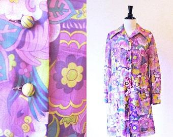 Vintage 70s Shift, Long Sleeve Lavender Flower Print Dress, Free shipping