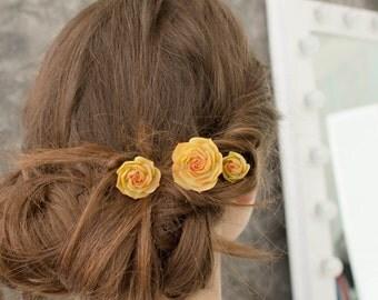 Orange Succulent Hair Pins Polymer clay Bobby Hairpin Hair Decoration Accessory Handmade Decoration Birthday Wedding Bridal Gift