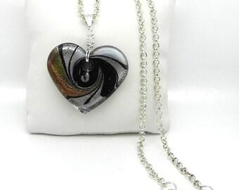 Lampwork Heart Pendant & Chain