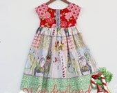 NEW Wonderland Short Sleeved Holiday Dress. Sizes  2T, 3/4T, 5/6T, 7/8y,  Made When Ordered