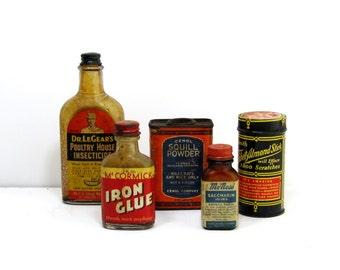 Vintage Advertising Bottles and Tins: Instant Collection of 5 Vintage Bottles and Tins