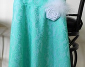 Adorable aqua turquoise blue lace over dress, satin flower with feather, girl, toddler, tween, size 2 - 12 wedding flower girl, everyday