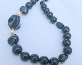 Vintage Chunky Black and Gold Plastic Beaded Necklace