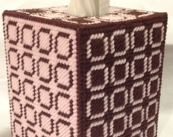 Geometric Squares Brown and Pink Tissue Box Cover in Plastic Canvas - PATTERN ONLY