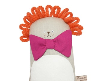 Lion Soft Sculpture with Pink Bow Tie, Lion Stuffed Animal Textile Art, Poosac