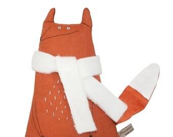 Fox Soft Toy Animal, Toy Fox Hand-Embroidered Art Doll, Orange Linen Fox with Cream Scarf, Kids Toy, Stuffed Toy Animal, Birthday Gift