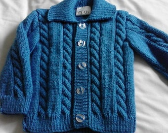 Boys Saxe Blue Collared Cardigan/Jacket